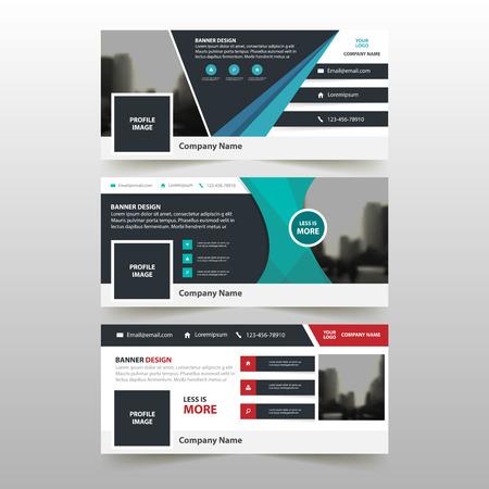 青赤の緑の三角形抽象企業バナー テンプレート水平広告ビジネス バナー レイアウト テンプレート フラット デザイン、ウェブサイトの設計の抽象