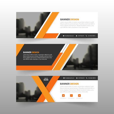Orange abstract corporate business banner template, horizontal advertising business banner layout template flat design set , clean abstract cover header background for website design