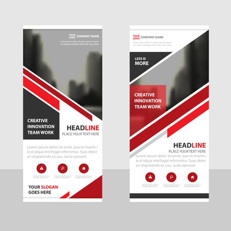 red flag up: Red triangle Business Roll Up Banner flat design template ,Abstract Geometric banner template Vector illustration set, abstract presentation brochure flyer template vertical template vector