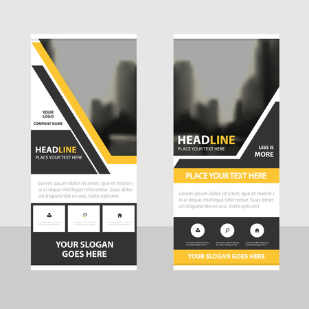 web template: Yellow black Business Roll Up Banner flat design template ,Abstract Geometric banner template Vector illustration set, abstract presentation brochure flyer template vertical template vector Illustration