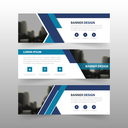 Blue abstract corporate business banner template, horizontal advertising business banner layout template flat design set , clean abstract cover header background for website design Illustration