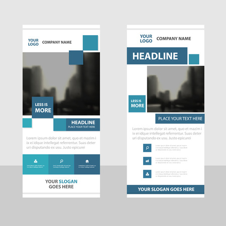 rollup: Blue square Business Roll Up Banner flat design template ,Abstract Geometric banner template Vector illustration set, abstract presentation brochure flyer template vertical template vector