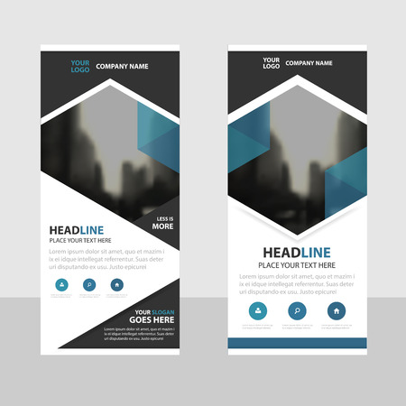 Blue hexagon Business Roll Up Banner flat design template ,Abstract Geometric banner template Vector illustration set, abstract presentation brochure flyer template vertical template vector