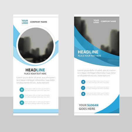 Blue circle Business Roll Up Banner flat design template ,Abstract Geometric banner template Vector illustration set, abstract presentation brochure flyer template vertical template vector Çizim