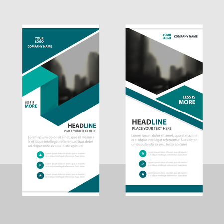 Green label Business Roll Up Banner flat design template ,Abstract Geometric banner template Vector illustration set, abstract presentation brochure flyer template vertical template vector