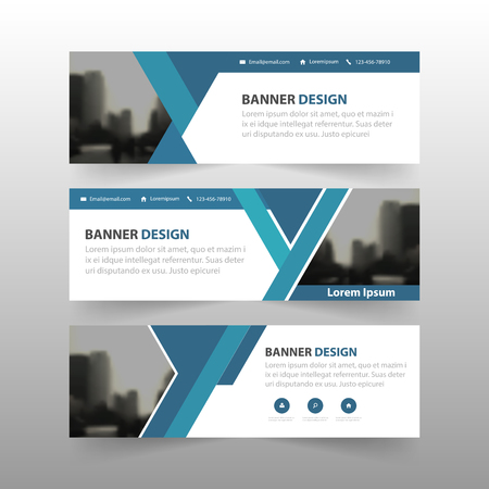 Blue abstract triangle corporate business banner template, horizontal advertising business banner layout template flat design set , clean abstract cover header background for website design Illustration