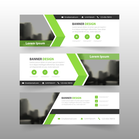 Green abstract triangle corporate business banner template, horizontal advertising business banner layout template flat design set , clean abstract cover header background for website design Vectores