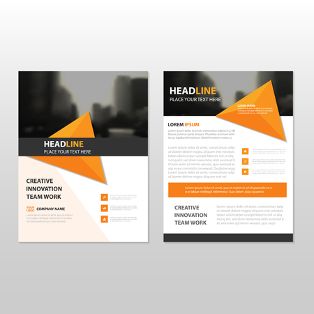 Orange Triangle Vector annual report Leaflet Brochure Flyer template design, book cover layout design, abstract business presentation template, a4 size design