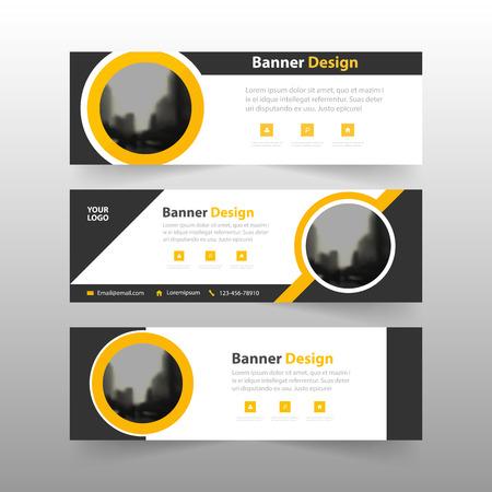Geel zwart abstract driehoeks collectief bedrijfsbannermalplaatje, de horizontale reeks van het de banner vlakke ontwerp van de reclamebannerlay-out, de schone abstracte achtergrond van de dekkingskopbal voor websiteontwerp