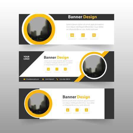 Yellow black abstract triangle corporate business banner template, horizontal advertising business banner layout template flat design set , clean abstract cover header background for website design