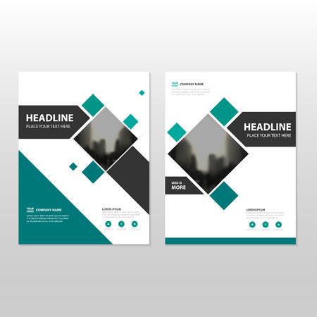 Groen vierkant Vector jaarverslag Brochure brochure Brochure sjabloon ontwerp, boekomslag lay-out ontwerp, abstract business presentation template, a4 formaat ontwerp