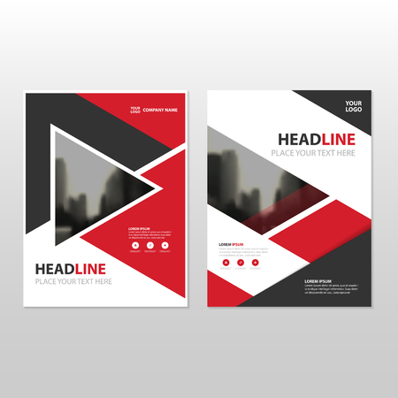 Red triangle Vector annual report Leaflet Brochure Flyer template design, book cover layout design, abstract business presentation template, a4 size design