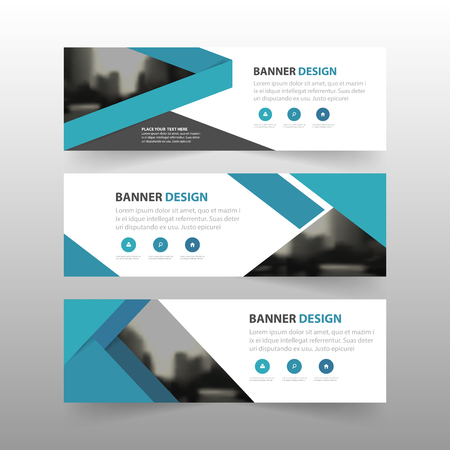 Blue label banner abstract triangle corporate business banner template, horizontal advertising business banner layout template flat design set , clean abstract cover header background for website design Vectores