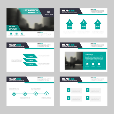 Modelli di presentazione nera verde, modelli di elementi infografici set di design piatto per annuale brochure report flyer brochure marketing banner modello di pubblicità