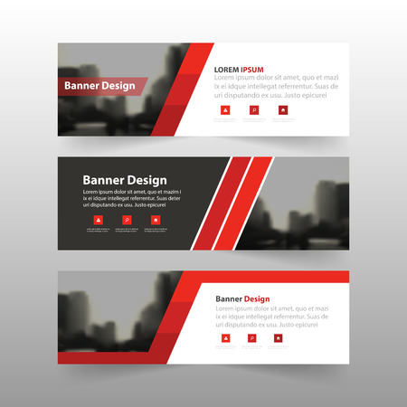 trade show: Red label banner abstract triangle corporate business banner template, horizontal advertising business banner layout template flat design set , clean abstract cover header background for website design