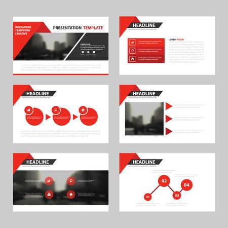 Modelos de apresentação do triângulo vermelho, infográfico elementos modelo design plano definido para o relatório anual folheto panfleto folheto marketing publicidade modelo de banner