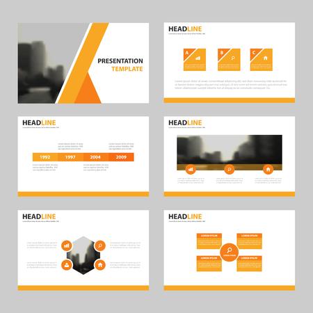 オレンジ色のプレゼンテーション テンプレート、インフォ グラフィックの要素テンプレート フラット デザイン マーケティング広告バナー テンプ