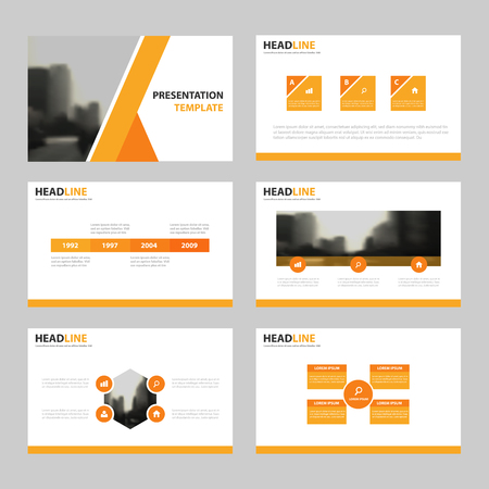 오렌지 프레 젠 테이션 템플릿, Infographic 요소 템플릿 평면 디자인 연례 보고서 브로셔 전단지 전단지 마케팅 광고 배너 템플릿