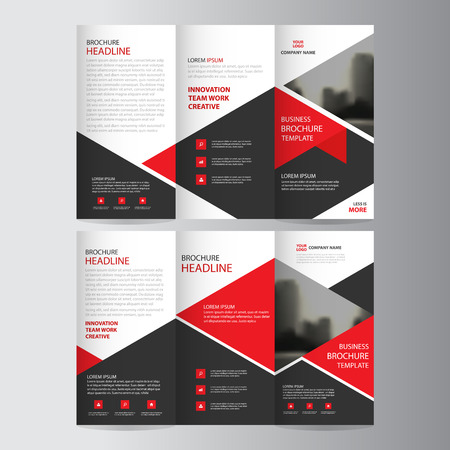 Red triangle business trifold Leaflet Brochure Flyer report template vector minimal flat design set, abstract three fold presentation layout templates a4 size