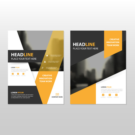 Yellow black Vector annual report Leaflet Brochure Flyer template design, book cover layout design, abstract business presentation template, a4 size design