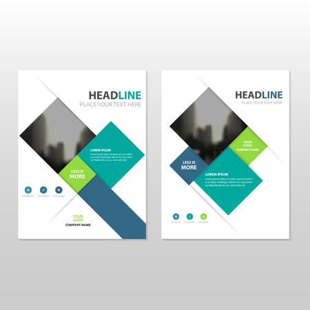 青い緑正方形ベクトル年次報告書チラシ パンフレット フライヤー テンプレート デザイン ブック カバー レイアウト デザイン、抽象的なビジネス