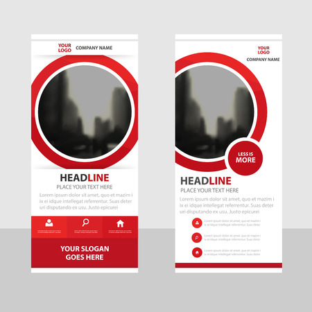 red banner: Red circle roll up business brochure flyer banner design , cover presentation abstract geometric background, modern publication x-banner and flag-banner, layout in rectangle size.