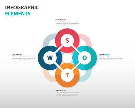 Abstract swot analysis business Infographics elements, presentation template flat design vector illustration for web design