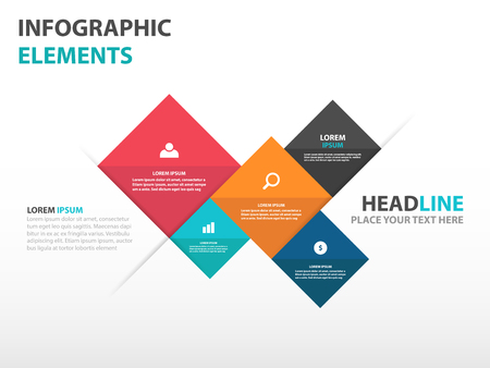 抽象 5 正方形ビジネス インフォ グラフィック要素、プレゼンテーション テンプレート フラット デザイン ベクター グラフィック広告をマーケティ  イラスト・ベクター素材