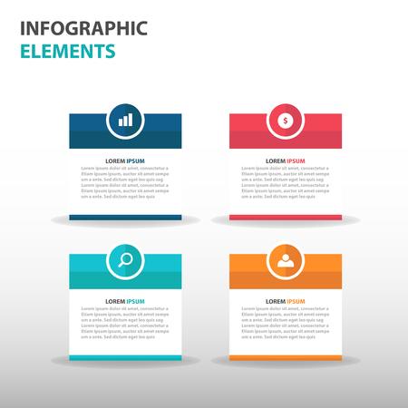 Infografía elementos de cuadro de texto de negocios abstractos, diseño plano ilustración vectorial plantilla de presentación para la web de publicidad de marketing de diseño Ilustración de vector