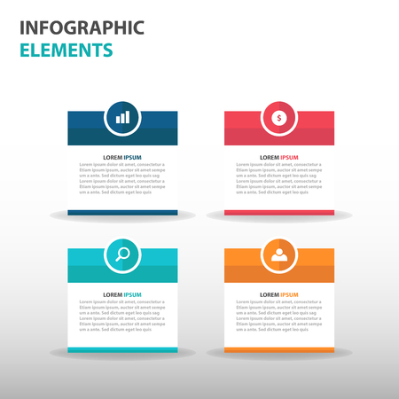 Abstract text box business Infographics elements, presentation template flat design vector illustration for web design marketing advertising Vectores