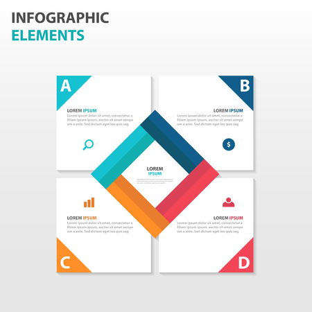 square abstract: Abstract square business Infographics elements, presentation template flat design vector illustration for web design marketing advertising Illustration