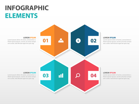 Abstract 4 hexagon business Infographics elements, presentation template flat design vector illustration for web design marketing advertising