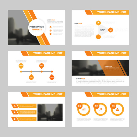 오렌지 추상 프리젠 테이션 템플릿, 인포 그래픽 요소 연례 보고서 책자 전단지 전단지 마케팅 광고 배너 템플릿 평면 디자인 세트를 템플릿