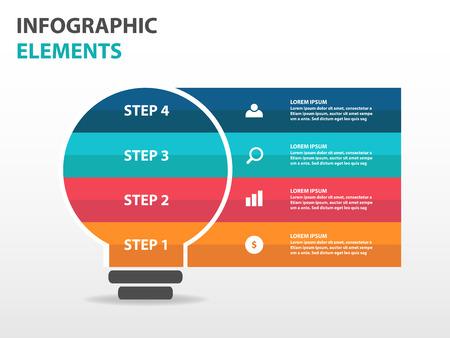 電球事業インフォ グラフィック要素、広告をマーケティングの web デザイン プレゼンテーション テンプレート フラット デザイン ベクトル図を抽象  イラスト・ベクター素材