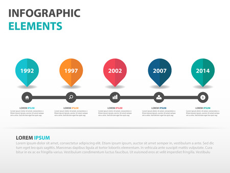 Abstract roadmap business timeline Infographics elements, presentation template flat design vector illustration for web design marketing advertising Ilustração