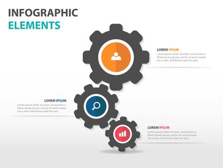 cog gear: Abstract cog gear business Infographics elements, presentation template flat design vector illustration for web design marketing advertising Illustration