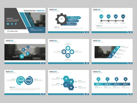 Blue Abstract presentation templates, Infographic elements template flat design set for annual report brochure flyer leaflet marketing advertising banner template  イラスト・ベクター素材