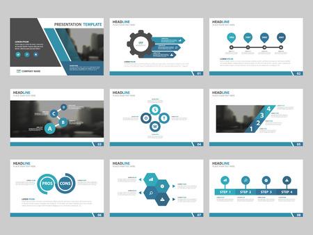 Bleu modèles de présentation Résumé, éléments infographiques jeu de templates de design plat pour le rapport brochure de marketing flyer dépliant bannière publicitaire modèle annuelle