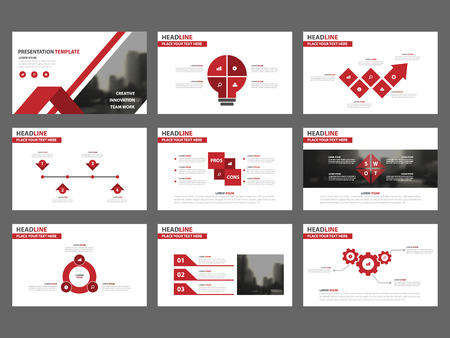 Red Abstract presentation templates, Infographic elements template flat design set for annual report brochure flyer leaflet marketing advertising banner template