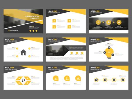 노란색 검은 색 추상 프리젠 테이션 템플릿, 인포 그래픽 요소는 연례 보고서 책자 전단지 전단지 마케팅 광고 배너 템플릿 평면 디자인 세트를 템플릿