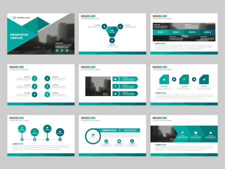 Green triangle presentation templates, Infographic elements template flat design set for annual report brochure flyer leaflet marketing advertising banner template