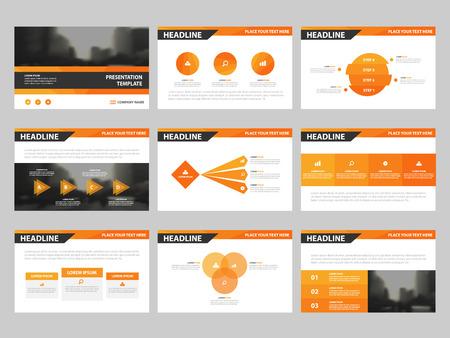 オレンジ色の三角形のプレゼンテーション テンプレート、インフォ グラフィックの要素テンプレート フラット デザイン マーケティング広告バナー