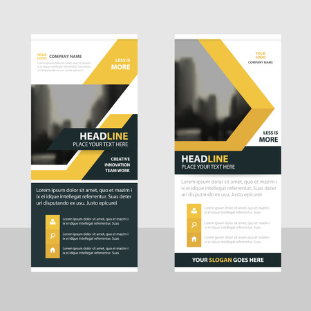 banner design: Yellow Business Roll Up Banner flat design template ,Abstract Geometric banner template Vector illustration set, abstract presentation brochure flyer template vertical template vector