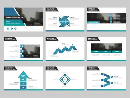 青い緑抽象プレゼンテーション テンプレート、インフォ グラフィックの要素テンプレート フラット デザイン マーケティング広告バナー テンプレ