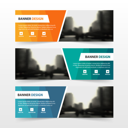 Orange green blue polygon corporate business banner template, horizontal advertising business banner layout template flat design set , clean abstract cover header background for website design