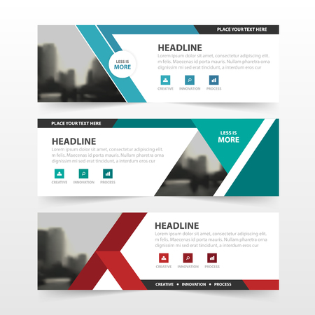 Red green blue polygon corporate business banner template, horizontal advertising business banner layout template flat design set , clean abstract cover header background for website design