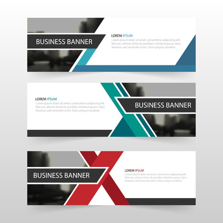 Blue green red abstract triangle corporate business banner template, horizontal advertising business banner layout template flat design set , clean abstract cover header background for website design
