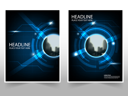 Technology Business Brochure Leaflet Flyer annual report template design, book cover layout design, abstract business presentation template, a4 size design Иллюстрация