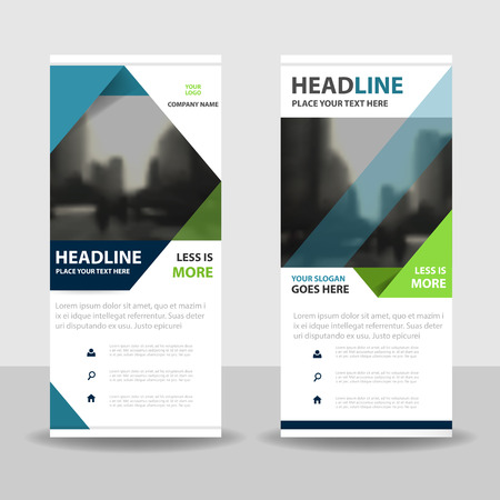 Blue green triangle roll up business brochure flyer banner design , cover presentation abstract geometric background, modern publication x-banner and flag-banner, layout in rectangle size. Imagens - 63937928