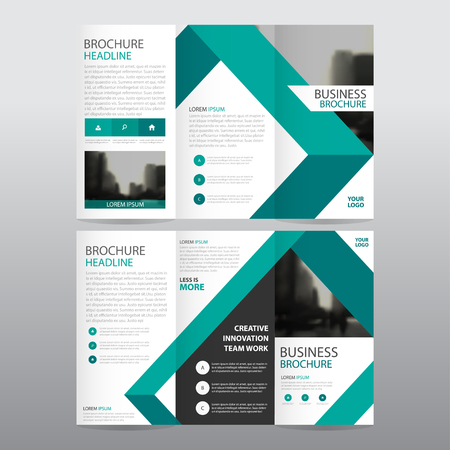 Blue triangle business trifold Leaflet Brochure Flyer report template vector minimal flat design set, abstract three fold presentation layout templates a4 size